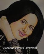 Chinese American Drawings - Hema Malini by Sandeep Kumar Sahota