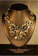 Soldered Jewelry - Hematite Black Diamond and Golden Tone Bib Necklace by Janine Antulov