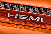 Gtx Posters - HEMI Plymouth GTX Hood Badge Poster by Gordon Dean II