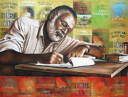Author Paintings - Hemingway by Ryan Jones