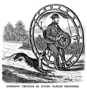 Whippet Dog Framed Prints - Hemmings Unicycle, 1869 Framed Print by Granger