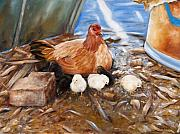 Barnyard Animal Paintings - Hen and Biddies by Rick McKinney