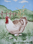 Animal Lover Paintings - Hen and Eggs by Leslie Manley