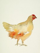 Beige Paintings - Hen by Carolyn Doe