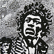 Music Legend Mixed Media Framed Prints - Hendrix Framed Print by Abby Hope Skinner