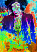Rock And Roll Posters - Hendrix Poster by David Lee Thompson