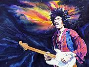 Guitarists Paintings - Hendrix by Ken Meyer jr