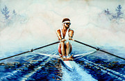 Action Sports Art Paintings - Henley On The Horizon by Hanne Lore Koehler