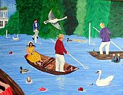 Swans... Paintings - Henley Regatta Fun by Sandy Wager