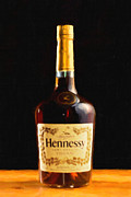Bottles Digital Art - Hennessy Cognac - Painterly by Wingsdomain Art and Photography