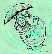 Umbrella Drawings Framed Prints - Henny Penny Takes a Walk Framed Print by Carol Shoemaker