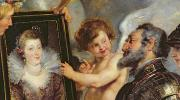 Cupid Posters - Henri IV Receiving the Portrait of Marie de Medici Poster by Rubens