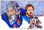 Nhl Hockey Drawings Prints - Henrik Lundqvist Print by Dave Olsen