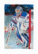 New York Rangers Paintings - Henrik Lundqvist by Glen Green