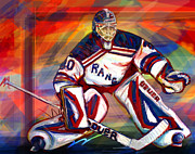 Goalie Framed Prints - Henrik Lundqvist2 Framed Print by Steve Benton