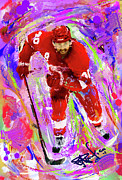 Hockey Painting Prints - Henrik Zetterberg Print by Donald Pavlica