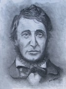 Concord  Drawings Metal Prints - Henry David Thoreau Metal Print by Jack Skinner