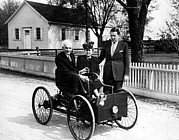 Henry Bryant Prints - Henry Ford In His First Automobile Print by Everett
