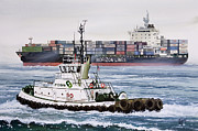 Artist James Williamson Fine Art Prints Prints - HENRY FOSS Ship Assist Print by James Williamson