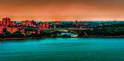 New York City Skyline Framed Prints - Henry Hudson Bridge at Nightfall Framed Print by David Hahn