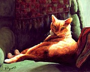 Ginger Cat Posters - Henry in Sunshine Poster by Pat Burns