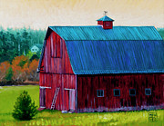 Stacey Neumiller Framed Prints - Henry Strong Barn circa 1928 Framed Print by Stacey Neumiller
