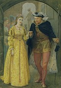 Hallway Framed Prints - Henry VIII and Anne Boleyn  Framed Print by Arthur Hopkins