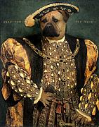 Royalty Digital Art Posters - Henry VIII as a Mastiff Poster by Galen Hazelhofer
