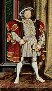 Stood Metal Prints - Henry VIII Metal Print by Hans Holbein the Younger