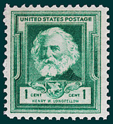 Longfellow Prints - Henry W Longfellow postage stamp Print by James Hill