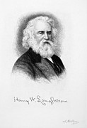 Autograph Drawings Framed Prints - Henry Wadsworth Longfellow   Framed Print by Granger