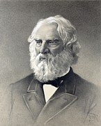 Longfellow Prints - Henry Wadsworth Longfellow 1807-1882 Print by Everett