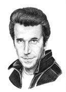 Famous People Drawings - Henry Winkler The Fonz by Murphy Elliott