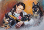 Girl With Dogs Posters - Her Best Friends Poster by Ylli Haruni