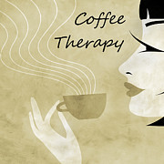 Brunette Mixed Media Prints - Her Coffee Therapy 1 Print by Angelina Vick