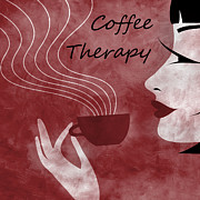 Brunette Posters - Her Coffee Therapy 2 Poster by Angelina Vick