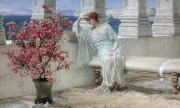 Bench Paintings - Her eyes are with her thoughts and they are far away by Sir Lawrence Alma-Tadema