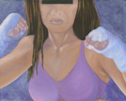 Warrior Goddess Paintings - Her Fight by Karen Feiling