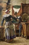 Kitchen Interior Posters - Her First Born Poster by Walter Langley