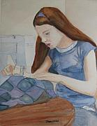 Sewing Paintings - Her First Quilt by Jenny Armitage