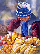 Chinese Woman Watercolor Posters - Her Fruitstand Poster by Sharon Freeman