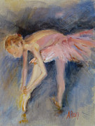 Ballet Dancers Painting Prints - Her Golden Ribbons Print by Ann Radley