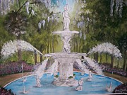 Forsythe Fountain Savannah Framed Prints - Her Majesty the Fountain Framed Print by Brad Hook