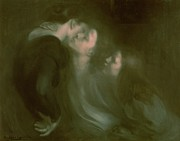 Women Together Painting Metal Prints - Her Mothers Kiss Metal Print by Eugene Carriere