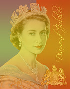 Royalty Digital Art Posters - Her Royal Highness Queen Elizabeth II Poster by Heidi Hermes