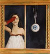 Odd Portrait Art - Her Wandering Eye by Leah Saulnier The Painting Maniac
