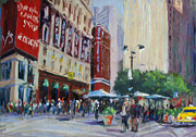 Cities Pastels Posters - Herald Square - NYC Poster by Lorrie Turner