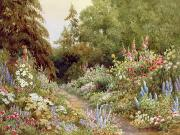 Homes Painting Prints - Herbaceous Border  Print by Evelyn L Engleheart