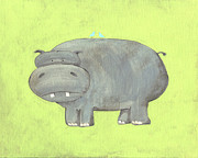 Zoo Painting Prints - Herbert Hippo Nursery Art Print by Katie Carlsruh