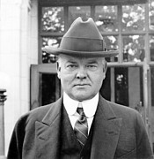 U S Presidents Framed Prints - Herbert Hoover - President of the United States of America - c 1924 Framed Print by International  Images